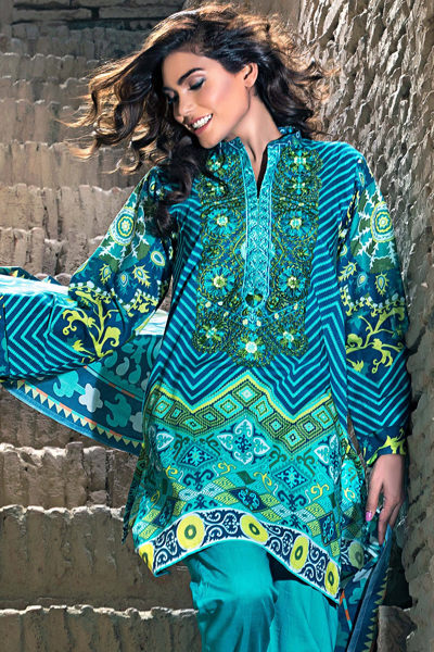 TURQUOISE 3 PC PRINTED LAWN EA-28