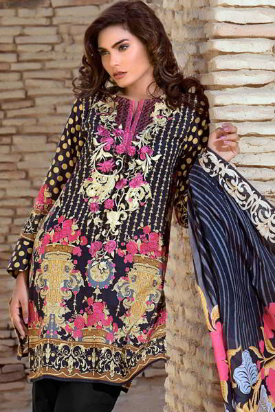 BLACK 3 PC PRINTED LAWN EA-29