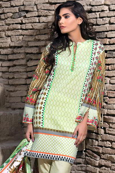 LIGHT GREEN 3 PC PRINTED LAWN EA-27 B
