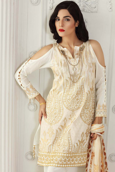 OFF WHITE 3 PC COTTON SILK BLENDED CHIFFON EMBROIDERED EA-18 Gul Ahmed