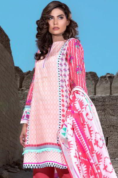 PINK 3 PC PRINTED LAWN EA-27 A