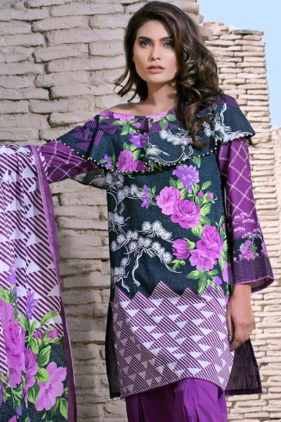 PURPLE 3 PC PRINTED LAWN EA-26 B
