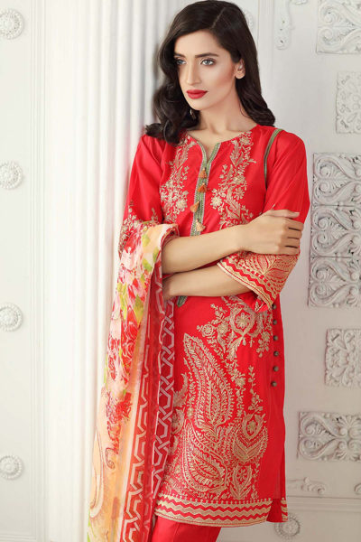 RED 3 PC COTTON SILK BLENDED CHIFFON EMBROIDERED EA-19