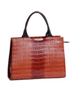 Structured Croc Leather Handbag