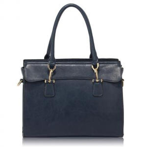 Navy Tote with Polished Hardware