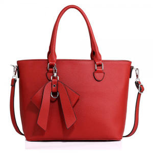 Red Tote Bag with Bow Charm