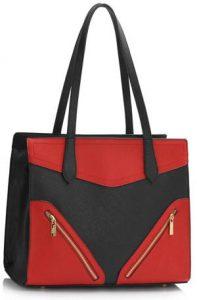 Red-Black Detail Shoulder Bag