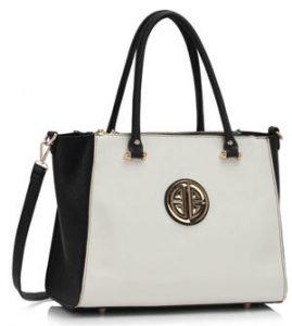 Black White Silk Avenue Handbag