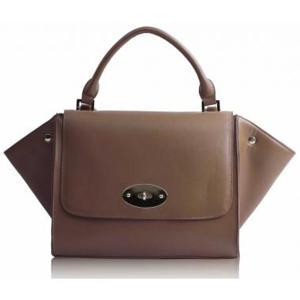 Tan Flap Satchel Handbag Silk Avenue Intl