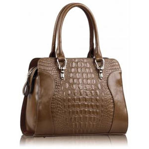 Tan Croc Tote Bag